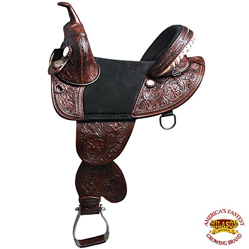 "HILASON 13"" 14"" 15"" 16"" 17"" 18"" Classic Series TREELESS Western Trail Barrel Racing American Leather Saddle TAN/Black/Brown/Mahogany"