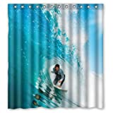 Cool Man Surfing Throw the Waves Love Sport Theme - Fashion Personalize Custom Bathroom Shower Curtain Waterproof Polyester Fabric 66(w)x72(h) Rings Included