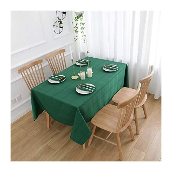 VEEYOO Rectangle Spillproof Table Cloth - 60 x 102 Inch Green Striped Tablecloth in Washable Polyester - Stain Resistant Wrinkle Free Tablecloth for Dinner Party Restaurant - 100% Polyester Fabric Tablecloth. Made of high quality material, these table cloth are soft touch, also they're stain and wrinkle resistant for home indoor and outdoor use. Elegance Plaid Table Cloth. Special design with jacquard lines makes these tablecloths more textured, beautiful and simple. Also the Hemmed edges checkered tablecloths are perfect for Bridal Shower, Banquet. Spillproof Tablecloth. All liquids/spills bead up for an easy clean with sponge or napkins. Also, these waterproof table covers are not fade. Machine washable, no bleach, gentle cycle and no iron, easy care for daily use. - tablecloths, kitchen-dining-room-table-linens, kitchen-dining-room - 51OcCdrSV0L. SS570  -