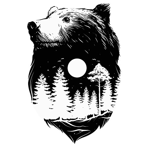 Bear and Nature Cutout - 4 Inch Full Color Vinyl Decal for Indoor or Outdoor use, Cars, Laptops, Décor, Windows, and more ()