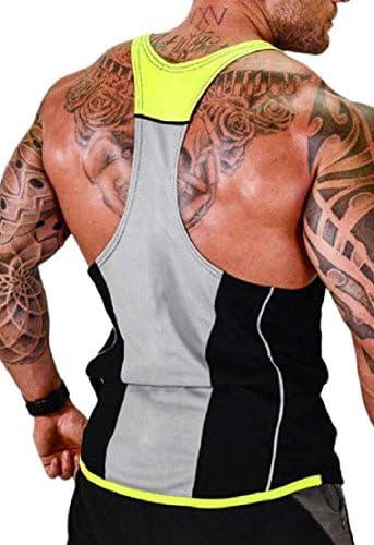 メンズタンクトップトレーニング筋肉ティートレーニングボディービルフィットネスTシャツ