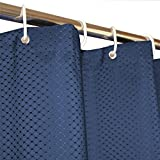 Eforgift Polyester Curtain for Bathtub Pure Blue Waterproof Fabric Mold Resistant Bathroom Curtain Heavy Weighted Waffle Weave Printed with Plastic Hooks, 72
