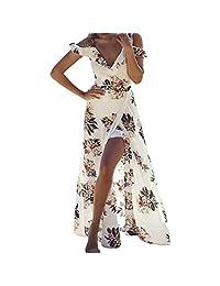 XWDA Women Off Shoulder Dress V Neck Split Floral Print Long Maxi Beach Dress