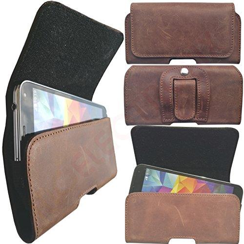 1A ECHT LEDER Gürtel BRAUN Seiten Quer Tasche Belt Cover Case Schutz Hülle Etui für Apple Iphone 7 Plus