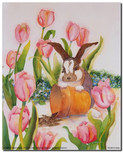 Impact Posters Gallery Wall Decor Bunny Rabbit With Tulips Flower & Pot Kids Room Art Print Picture (8x10)