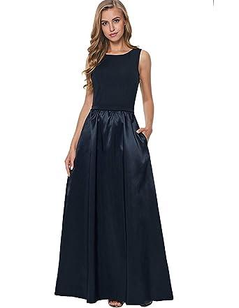 be806bb2a6d Fanessy Femme Robe de Soirée Noir Bleu Marine Longue Robe sans Manche  Grande Taille Sexy élégant pour Mariage Casual Businesse Cérémonie   Amazon.fr  ...