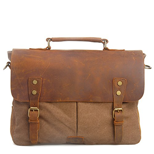 12 for Retro Outdoor peak Briefcase Satchel light brown 28 14 Laptop Bag Laptop 37 Shoulder nbsp;inch Bag Ladies Ladies Travel Leather Bag Work cm men Green green Messenger Genuine Canvas wwptPUqr