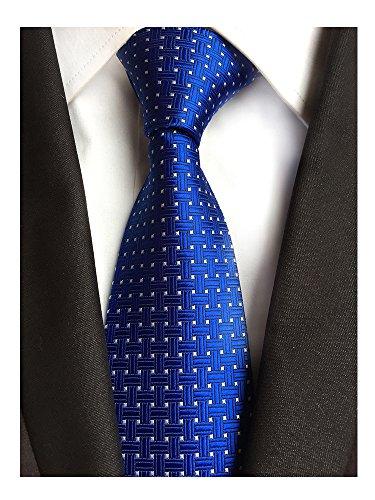 (Men's Classic Royal Blue White Dot Tie Jacquard Woven Silk Tie Necktie + Gift Box)