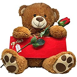 I Love You Gift Set with Plush Stuffed Animal Teddy Bear, Russell Stover Elegant Collection Fine Chocolates and Scented Rose