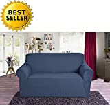 Furniture Covers Best Deals - Elegant Comfort Collection Luxury Soft Furniture Jersey STRETCH SLIPCOVER, Loveseat Navy Blue