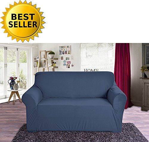 Elegant Comfort Collection Luxury Soft Furniture Jersey STRETCH SLIPCOVER, Loveseat Navy Blue (Loveseat Couch Covers)