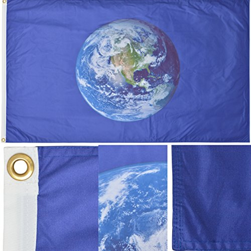 Green Grove Products Earth Flag  Western Hemisphere  3 X 5 Ft Premium Polyester Double Sided Outdoor Flag