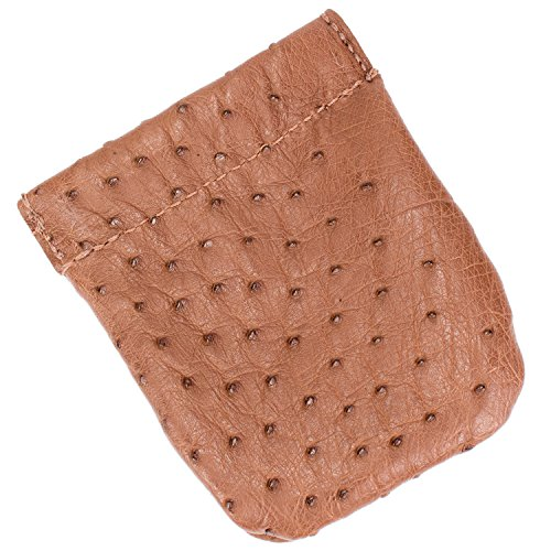 Genuine Ostrich Skin Leather Spring Loaded Coin Pouch (Large, Brown)