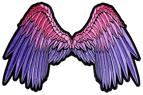 Leather Supreme Sexy Pink, Purple Angel Wings Lady Rider Embroidered Lady Biker ()