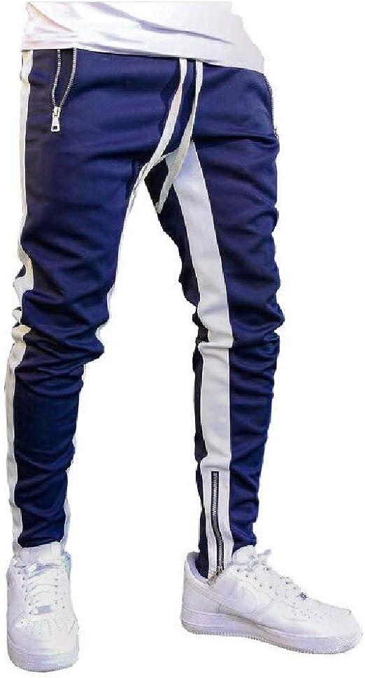Tootess Men Skinny Drawstring Stretch Tapered Zip Striped Printed Harem Pants