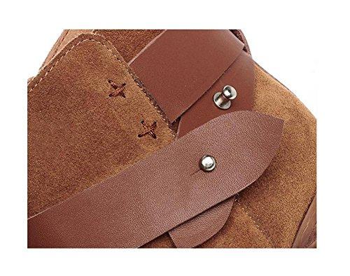 personalità cintura fibbia retrò con greggio stivale tronchesino con velluto tacco scarpe Nubuck stivaletti donna pelle , brown , 35