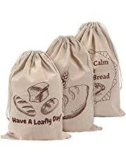 Linen Bread Bags for Loaf Storage, Bags for Homemade Breads, Pack of 3 Reusable Linen Bags for Sourdough, Natural Storage for Artisan Breads, Gift for Bread Makers, Bakers, Housewarming, Wedding Gifts