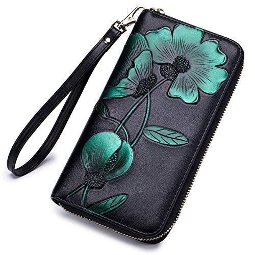 APHISON Women RFID Leather Wallet Hand Painted Flowers Ladies Wristlet Wrist strap Long Purse Zip Around Phone Clutch - Peony/Bauhinia(B-GREEN)