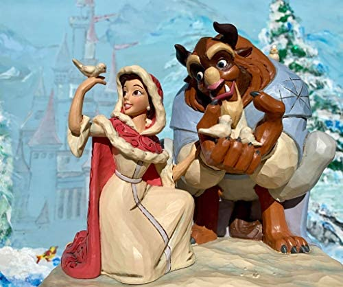 Jim Shore Disney Tradition Something There Belle Beast in Winter White Woodland Collection