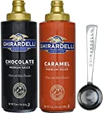 Ghirardelli 17 Ounce Caramel, 16 Ounce Chocolate Sauce Squeeze Bottles (Set of 2) - with Limited Edition Measuring Spoon