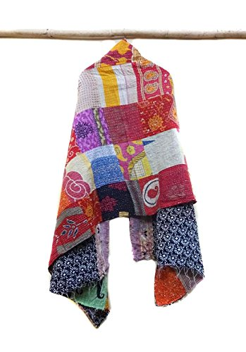 Cotton Vintage Kantha Scarf Antique Sew Long Reversible Scarf Hijab Scarves patchwork