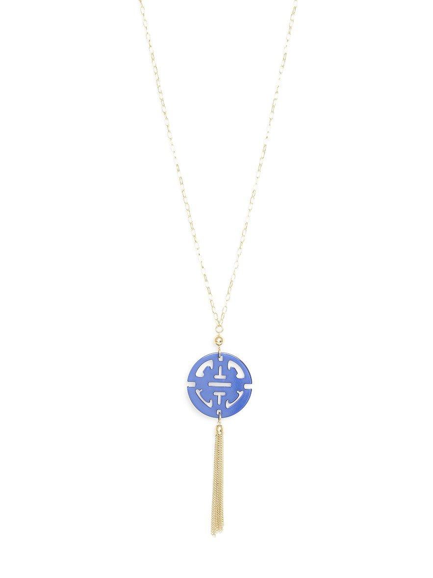 ZENZII Travel Tassel Long Necklace with Cobalt Resin Pendant and Tassel
