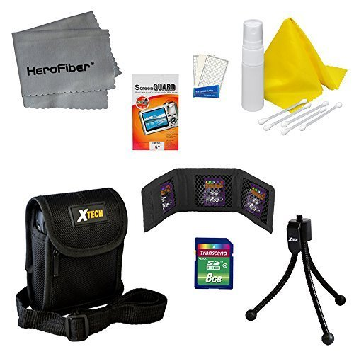 Starter Accessory Kit for Canon PowerShot ELPH 135 - Includes: 8 GB memory card, Protective Digital Camera Carrying Case, Mini Tabletop Tripod, Memory Card Wallet, Lens Cleaning Fluid, Cleaning Cloth, Universal Screen Protectors with Squeegee Card, 5 Cott by HeroFiber