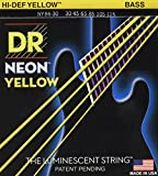 NEON Hi-Def Yellow Bass 6 string 30-125. Super bright colors that will sound clear, bright and musical. NEON's are 100% black light active and will glow under any UV light source.