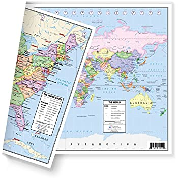 Amazon contemporary world map tyvek paper office products us and world desk map 13 x 18 laminated for students home or classroom use by american geographics gumiabroncs Gallery