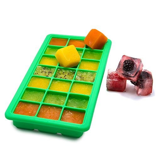 TigexPro Silicone Ice Cube Tray With Lid, 21 Ice Cubes Tray BPA Free, Food Grade Silicone Ice Cube Storage Tray, Baby Food Silicone Mold, Flexible Ice Cube Tray