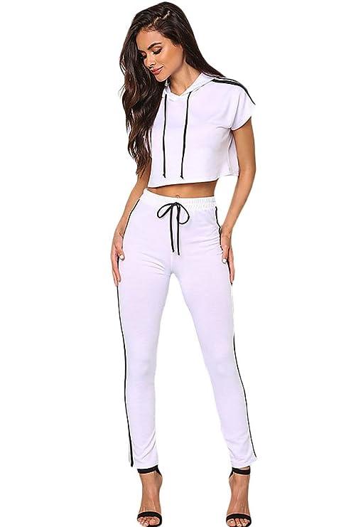 Ladies blanco con capucha Crop Top & Pantalones de chándal Mono ...