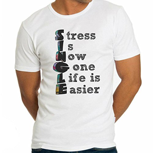 Stress Is Now Gone Life Easier Single Date Quote Herren T-Shirt