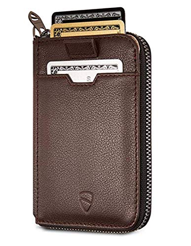 Vaultskin NOTTING HILL Slim Zip Wallet with RFID Protection for Cards Cash Coins (Brown) - Mens Coin Wallet