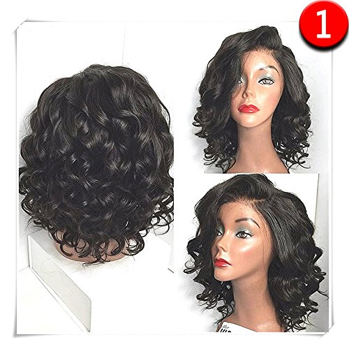 COLODO Synthetic Wigs Short Bob Wet And Wavy Synthetic Lace Front Wig Black Color For Women (Best Synthetic Wigs)