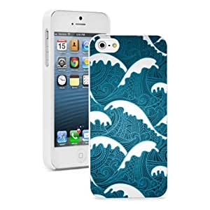 Apple iPhone 4 4S Hard Back Case Cover Color Abrstract Blue Sea Ocean Waves (White)