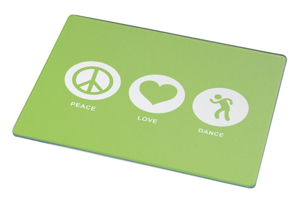 Rikki Knight Peace Love Dance Lime Green Color Large Glass Cutting Board