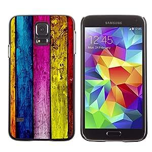 Be Good Phone Accessory // Dura Cáscara cubierta Protectora Caso Carcasa Funda de Protección para Samsung Galaxy S5 SM-G900 // Wood Wall Architecture Design Colorful Stripes