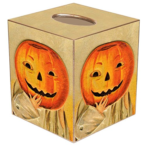Jack O'Lantern Paper Mache Tissue Box Cover • Halloween Decorations