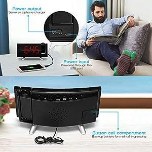 SKM Reloj Despertador de Proyección Digital Radio FM Reloj de Viaje Reloj de Cabecera Proyector Giratorio Alarma Doble Función de Despertador (Rojo) 6