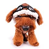 DOG Aviator Hat with Goggle Medium Brown