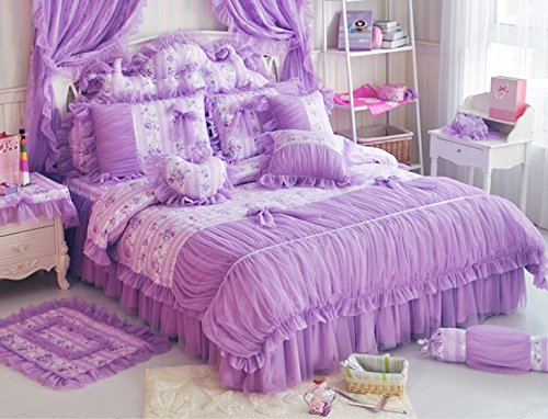MeMoreCool Home Textile Elegant Design Pastoral Style Floral Lace Princess Bedding Set Girly Ruffle Duvet Cover Fashion Exquisite Falbala Bed Skirt Queen Size 4Pcs