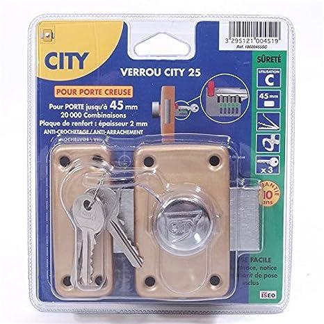 City-Cerrojo de seguridad con botón para puerta hondo 25 45 mm, diámetro 23-Cilindro de seguridad: Amazon.es: Bricolaje y herramientas