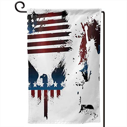 hwhwiko Garden Flag,Set with Bald Eagle Symbol and Stripes Stars Statue of Liberty Grunge Retro,12.5x18.5 inch