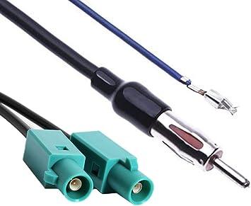 Adaptador de antena de radio de coche Fakra a Din FM AM – Divisor estéreo convertidor amplificador de señal compatible con AUDI Volkswage