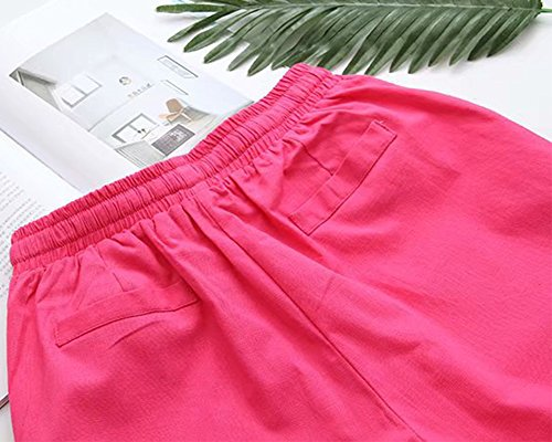 Di Sportivi Casual E Elastico Elasticizzati Unita Shifan Rose Tinta Vita Cotone In Pants Lino Pantaloni Donna qWXwO