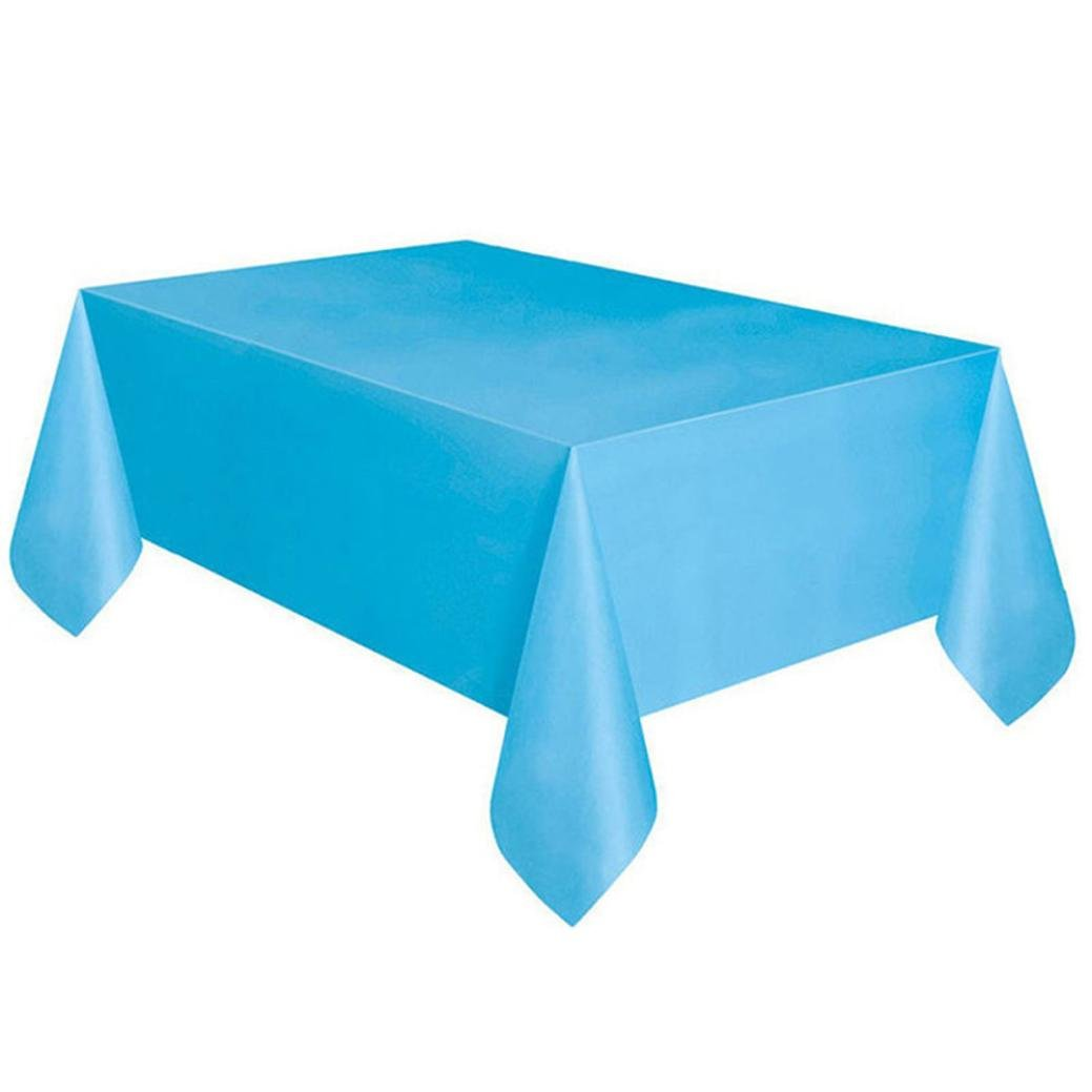 Coohole Disposable Plastic Tablecloth,6ft x 4.5ft Rectangle Table Cover (Sky Blue)