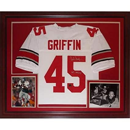 208476a03a2 Archie Griffin Autographed Signed Auto Ohio State Buckeyes White  45 Deluxe  Framed Jersey H.T. 1974