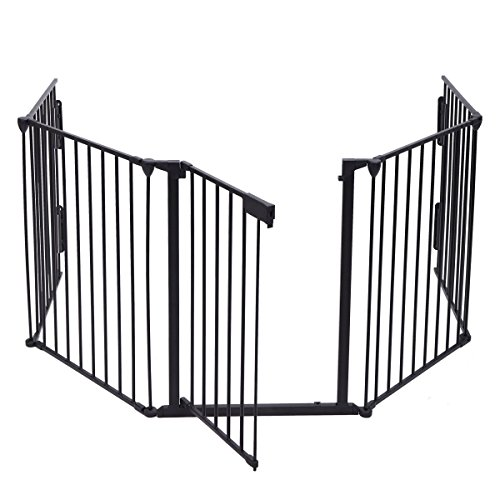 JAXPETY 25''x 30'' 5 Panel Baby Safety Fence Hearth Gate BBQ Fire Gate Fireplace Metal Plastic Pet Dog Cat by JAXPETY (Image #3)