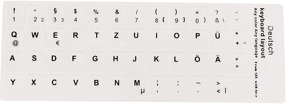 Pegatinas para teclado, letras negras con fondo blanco, para todos los ordenadores portátiles y teclados de ordenador de sobremesa, color blanco