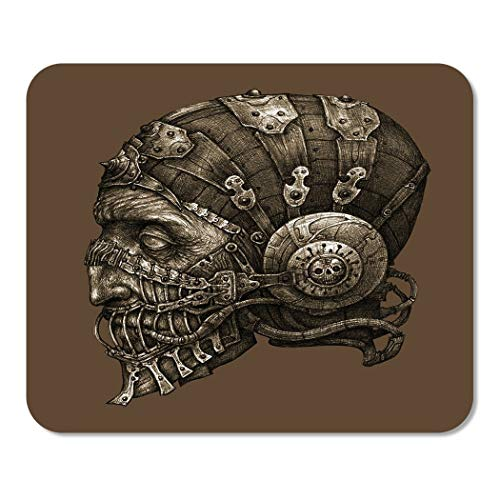Suike Mousepad Computer Notepad Office Fantastic Character in Helmet Mask Black and White Cyberpunk Home School Game Player Computer Worker 9.5x7.9 Inch -